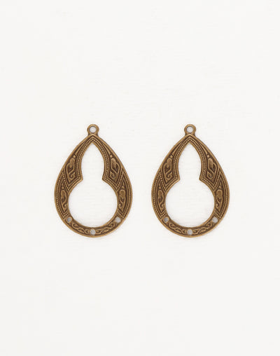Bohemian Teardrop, 30x21mm, (2pcs)