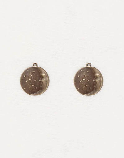 Moon Face Charm, 19x18mm, (2pcs)