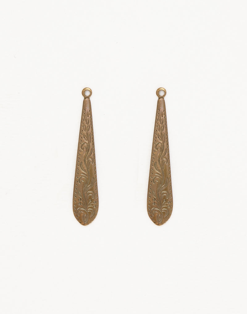 Ornate Etched Dangle, 36x7mm, (2pcs)
