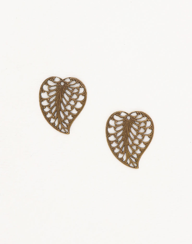 Filigree Leaf, 19x16mm, (2pcs)
