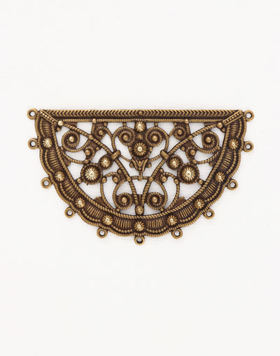 Fan Boho Filigree, 61x37mm, (1pc)