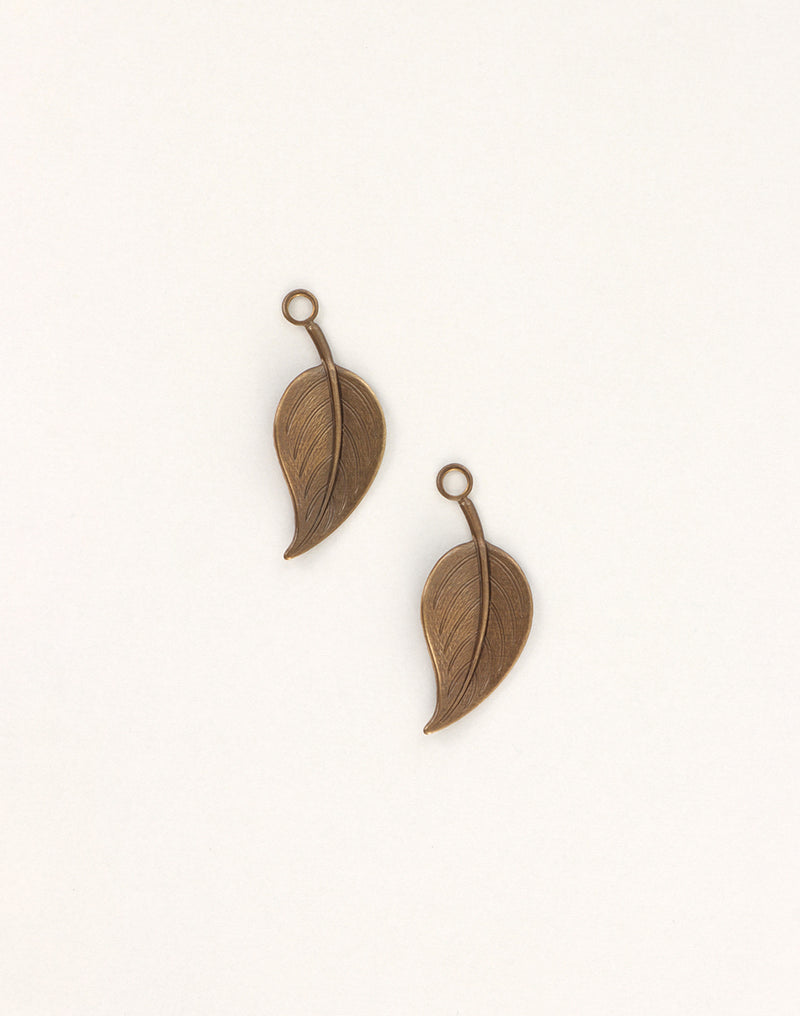 Catalpa Leaf, 29x12mm, (2pcs)