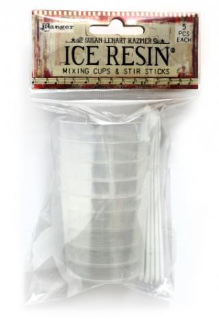 ICE Resin Mixing Cups and White Stir Sticks (5 sets)