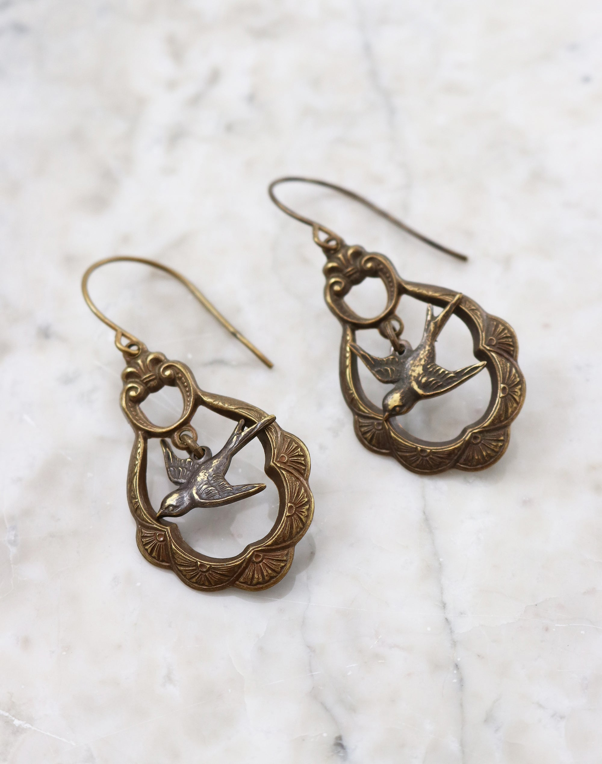Caged Sparrow Earrings, (1 pair)