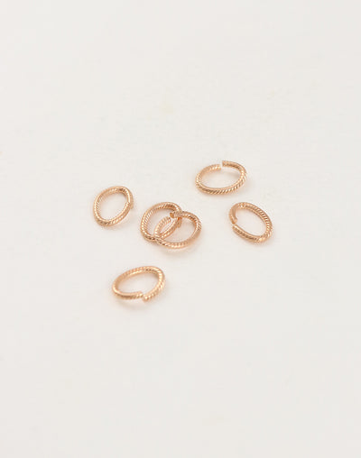Rib Oval Jump Ring, 10x7mm, 16ga, (6pcs)