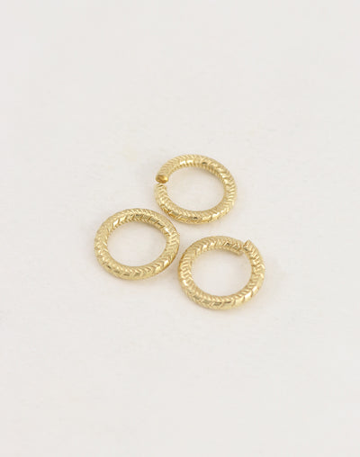 Cross Hatch Jump Ring, 14.5mm, 11ga, (3pcs)