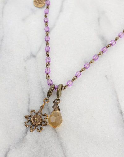 Lavender Drop Garden Necklace Interchangeable Set