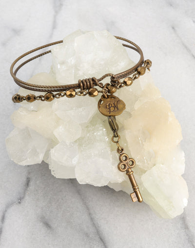 Cherished Bronze Key Bracelet Interchangeable Set