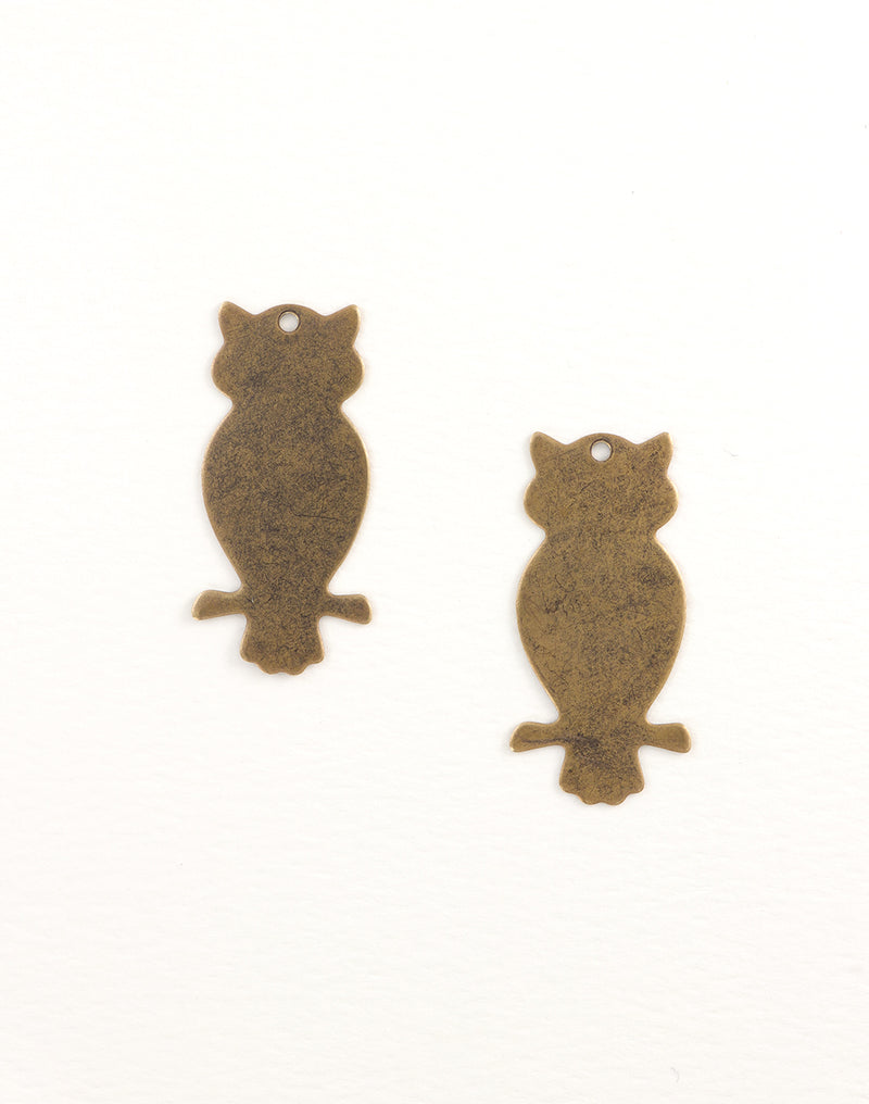 Perched Owl, 42x20mm , (2pcs)