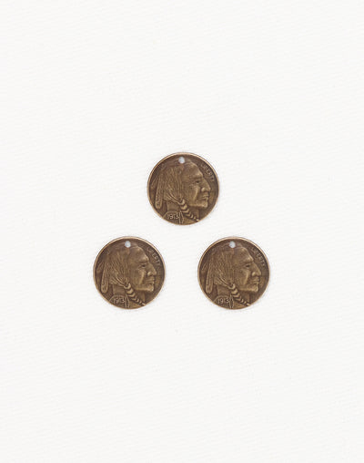 Brave Indian Coin, 13mm, (3pcs)