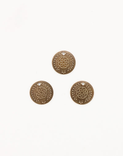 Botanical Coin, 12mm, (3pcs)