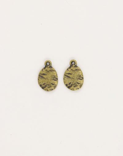 Hammered Oval, 14x12mm, (2pcs)