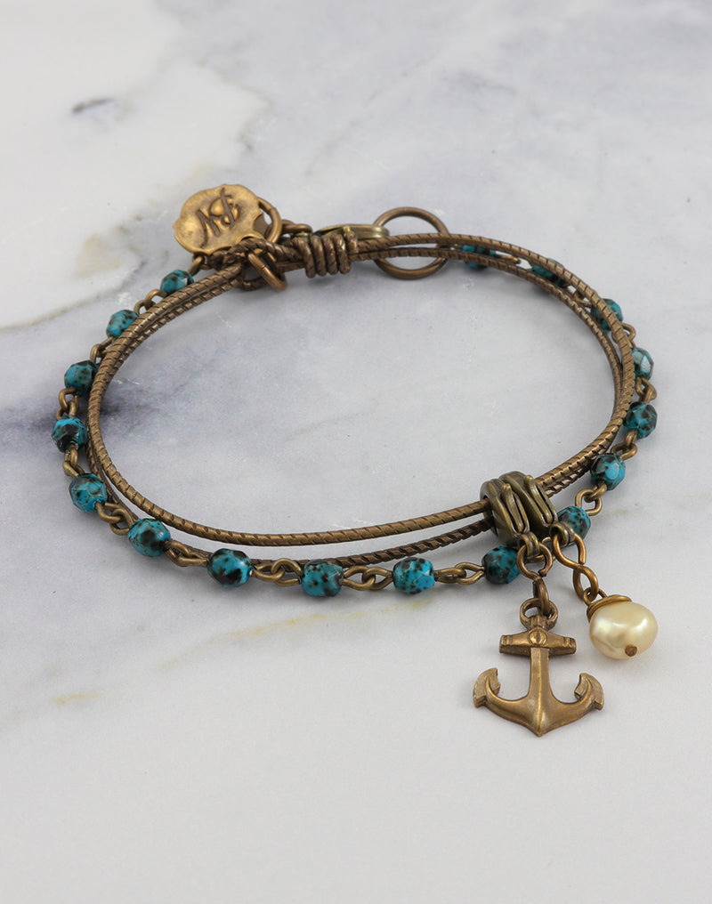 Turquoise Anchor Bracelet Interchangeable Set