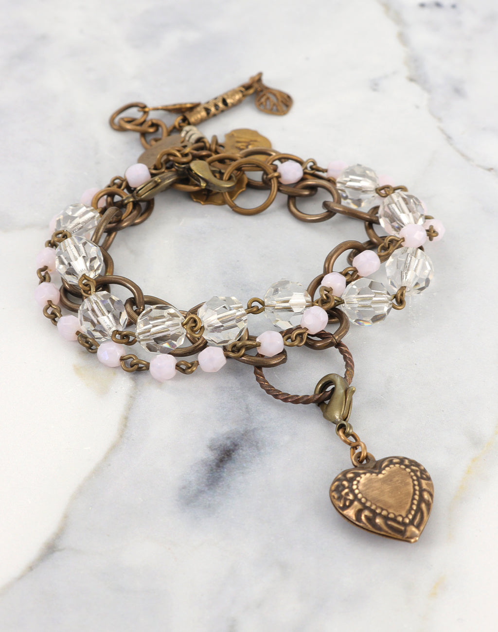 Crystal Hopeful Heart Stackable Bracelet Interchangeable Set