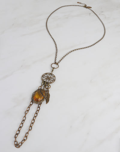 Roped Amber Compass Necklace Interchangeable Set
