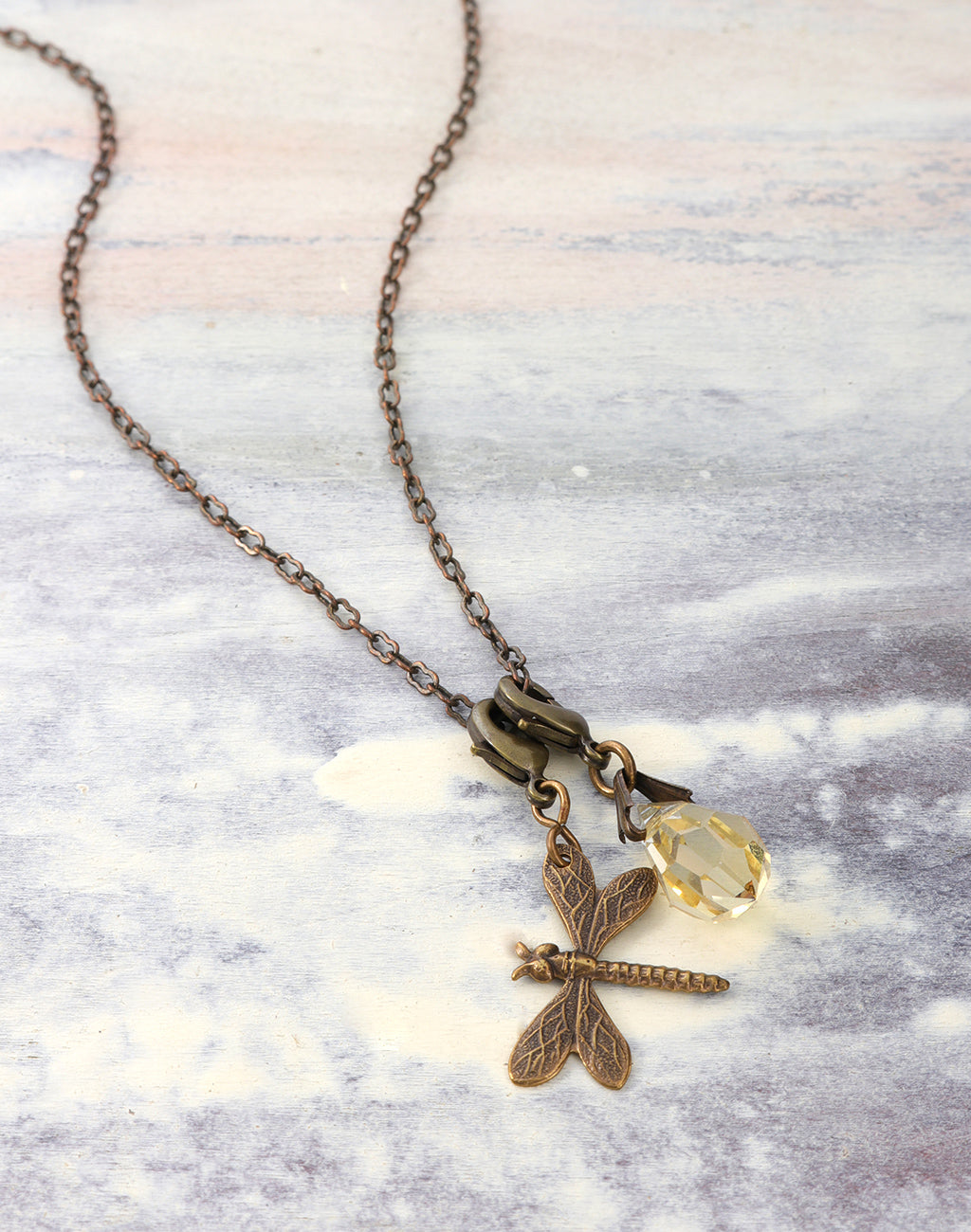 Ornate Honey Dragonfly Necklace Interchangeable Set