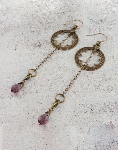 Amethyst Pendulum Earring Interchangeable Set