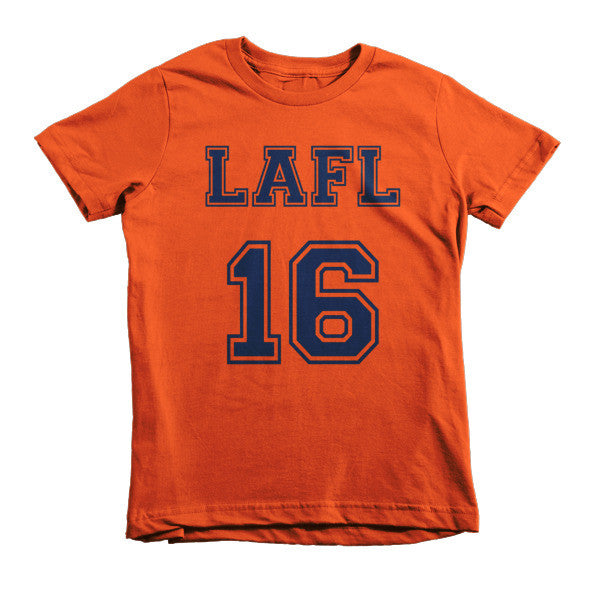 LAFL 16 collegiate short sleeve kids t-shirt (Navy Blue print)