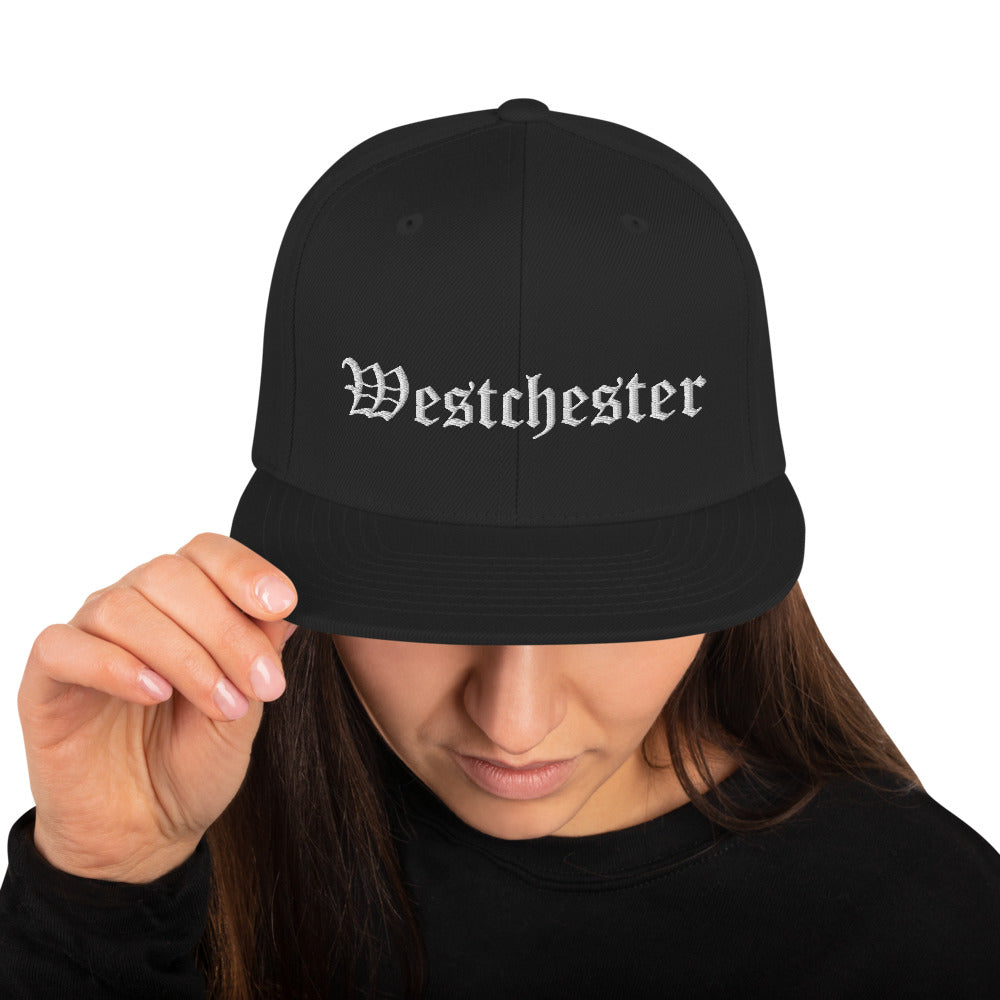 Westchester Old English Style Embroidery Snapback Hat