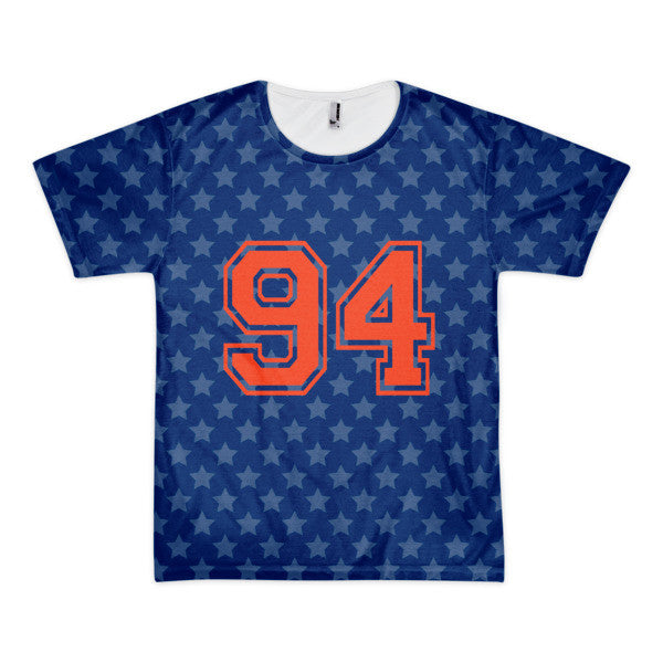 94 star in blue with red print short sleeve men's t-shirt (unisex)