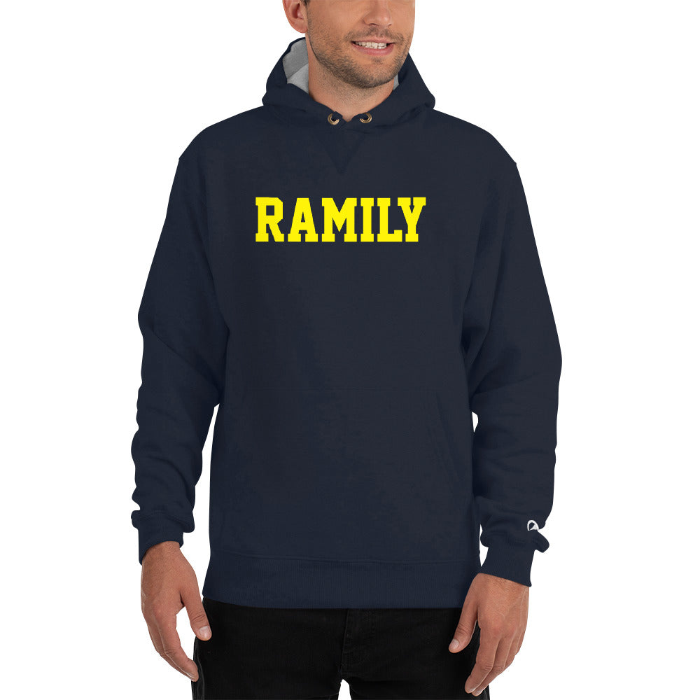 RAMILY Champion Hoodie in Navy with Yellow Print