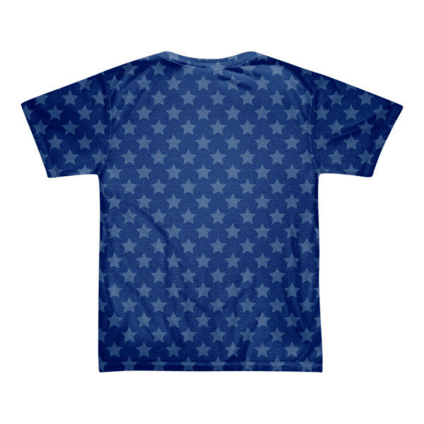 LA star in blue with white print short sleeve men's t-shirt (unisex)