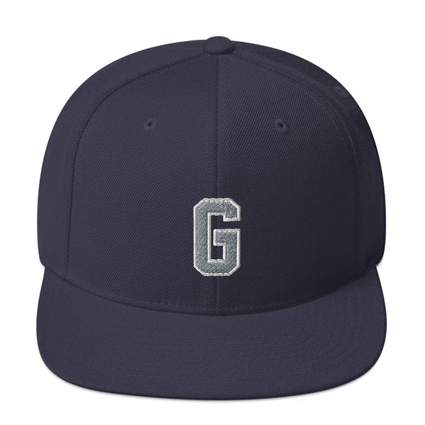 "Gray ""G"" Snapback with puff embroidery"