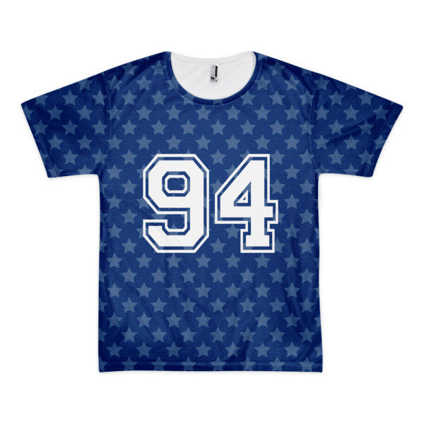 94 star in blue with white print short sleeve men's t-shirt (unisex)