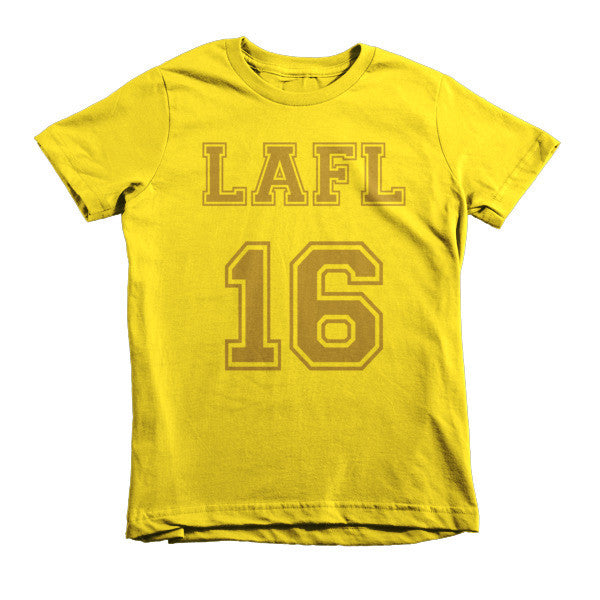 LAFL 16 collegiate short sleeve kids t-shirt (Gold print)
