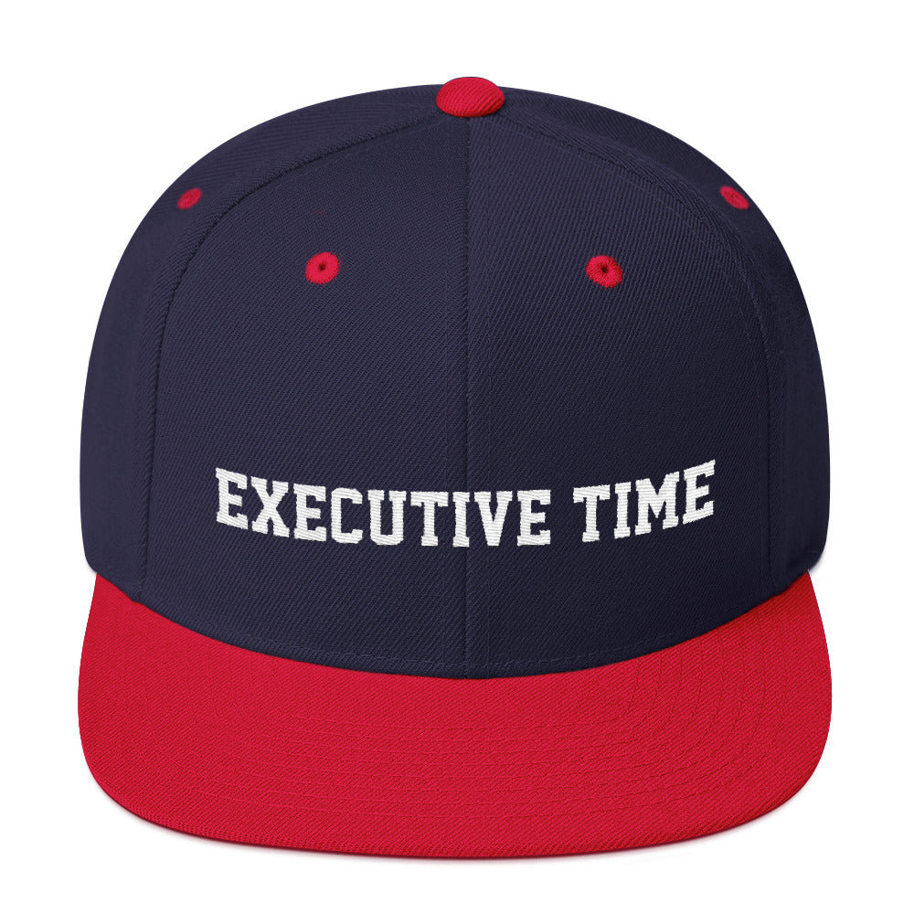 Executive Time Snapback Hat (Athletic font)