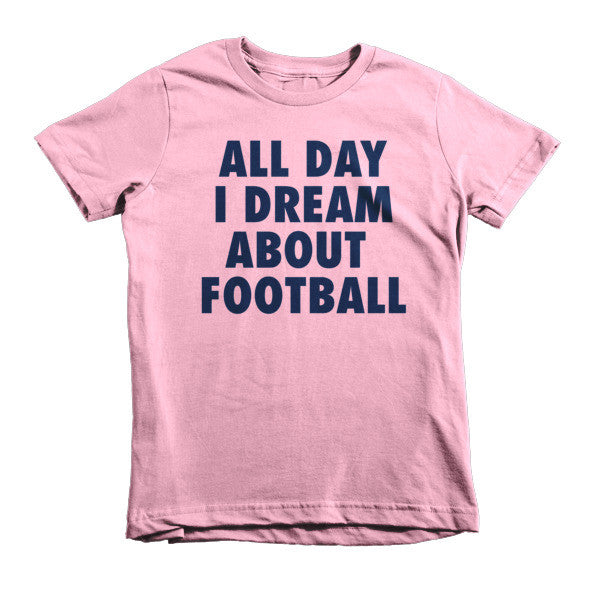 All Day I Dream About Football (Navy print) - Short sleeve kids t-shirt
