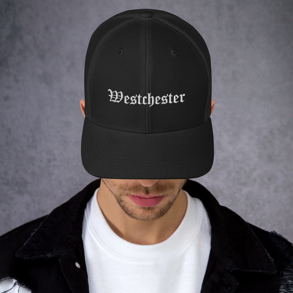 Westchester Old English Style Embroidery Trucker Cap