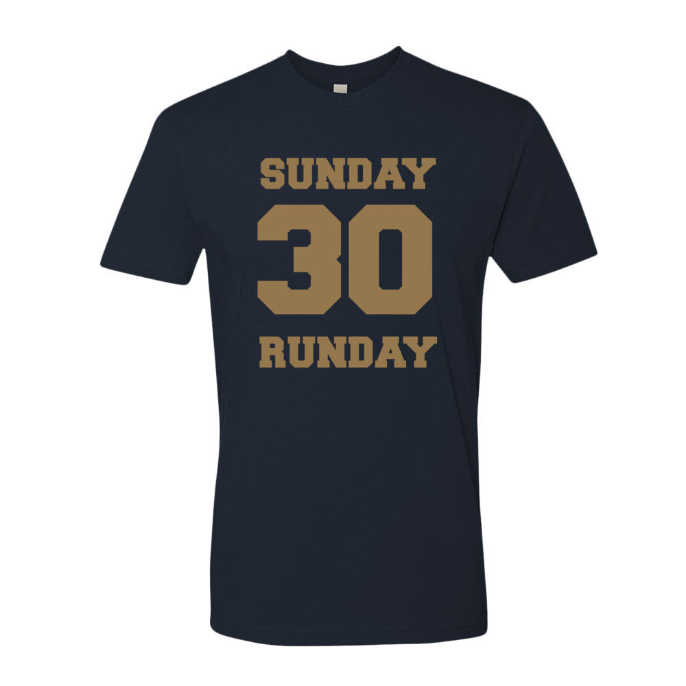 Sunday Runday (gold print) short sleeve men's t-shirt