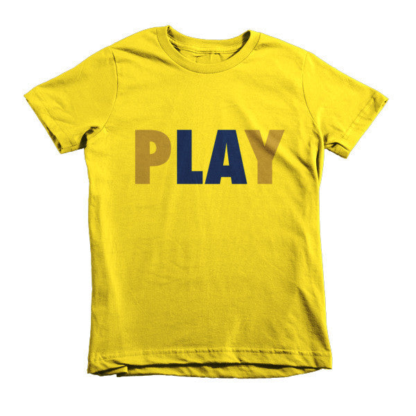 PLAY (Gold + Navy) short sleeve kids t-shirt