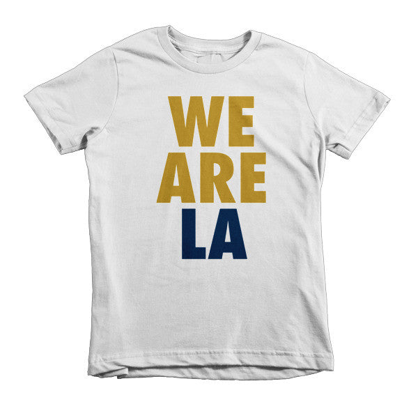 We Are LA (Gold + Navy Blue) short sleeve kids t-shirt
