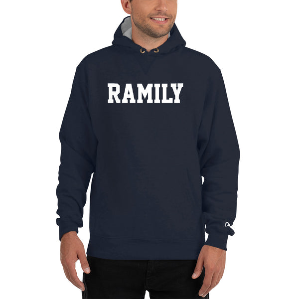 RAMILY Champion Hoodiein Navy with White print