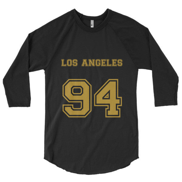 Los Angeles 94 (Gold print) - 3/4 sleeve raglan shirt