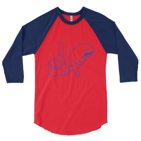 LA hand sign 3/4 sleeve raglan shirt