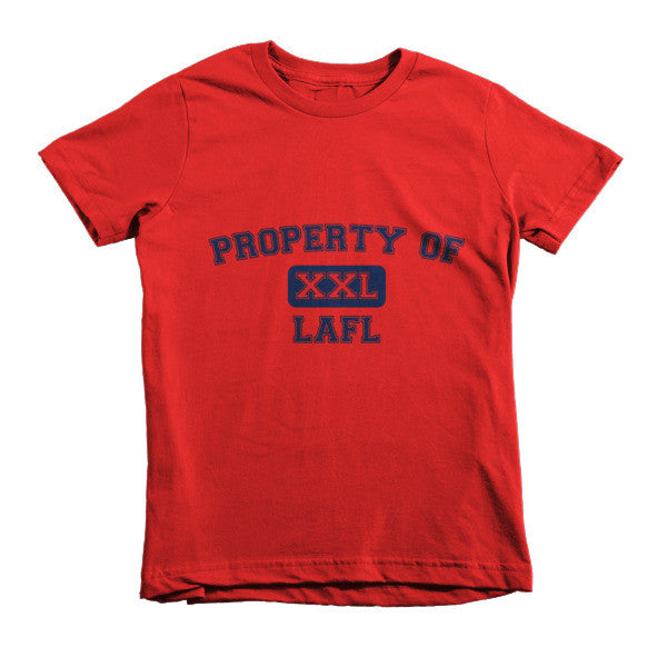 Propery of LAFL XXL short sleeve kids t-shirt (Navy Blue print)