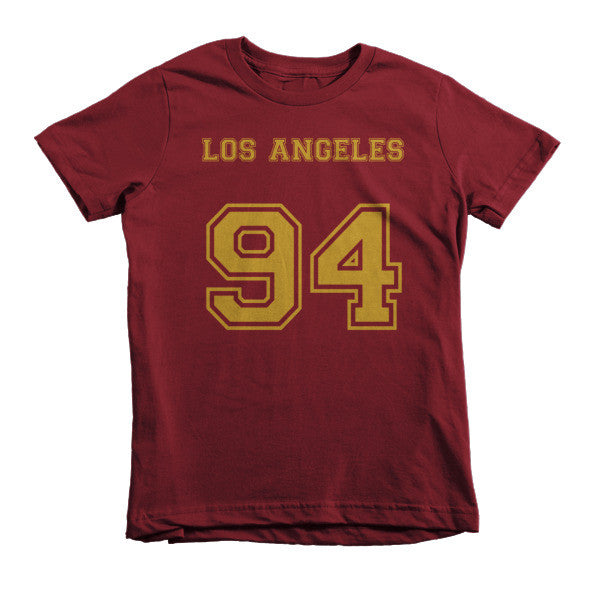 Los Angeles 94 (Gold print) Short sleeve kids t-shirt