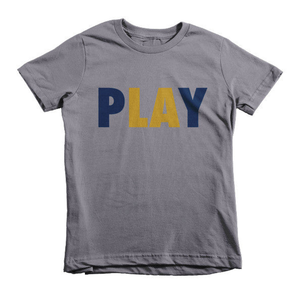 PLAY (Navy Blue + Gold) short sleeve kids t-shirt