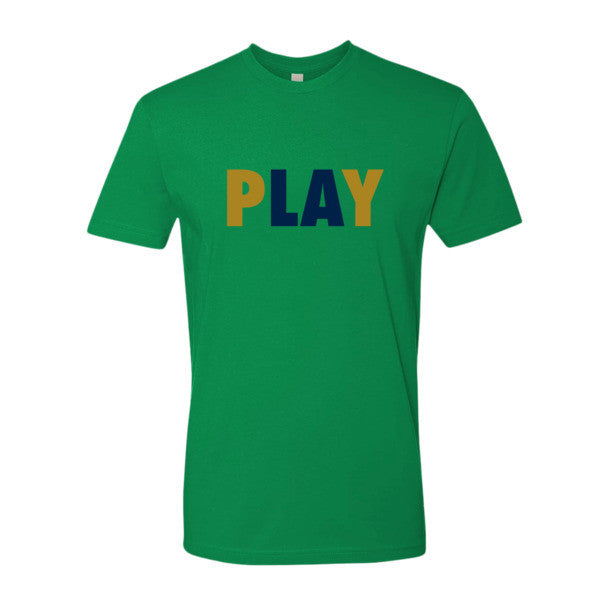 PLAY (Gold + Navy Blue) Short sleeve men's t-shirt