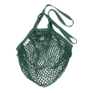 Long Handle Organic Cotton String Bag - Dark Green - The Weekly Shop | Plastic Free Online Shop