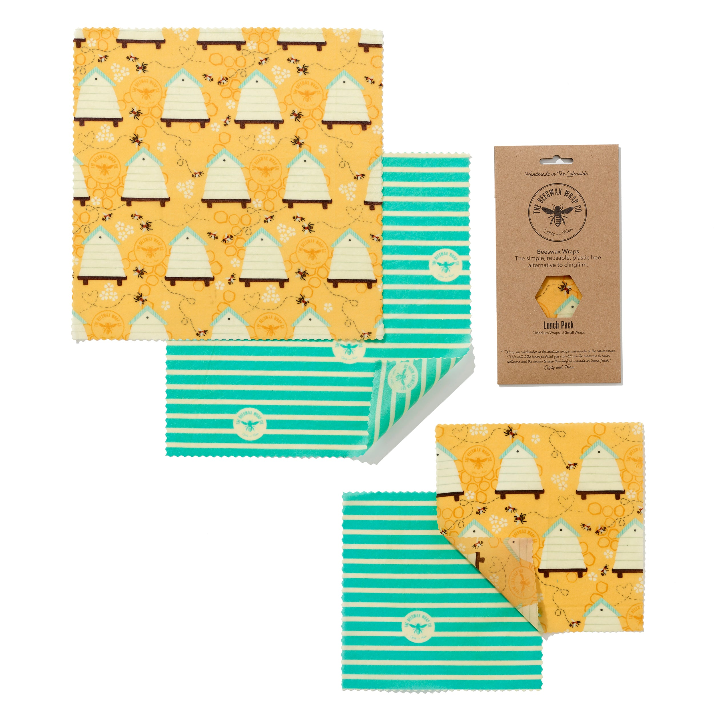 'Lunch Pack' Beeswax Wraps - Bee Hive - The Weekly Shop | Plastic Free Online Shop