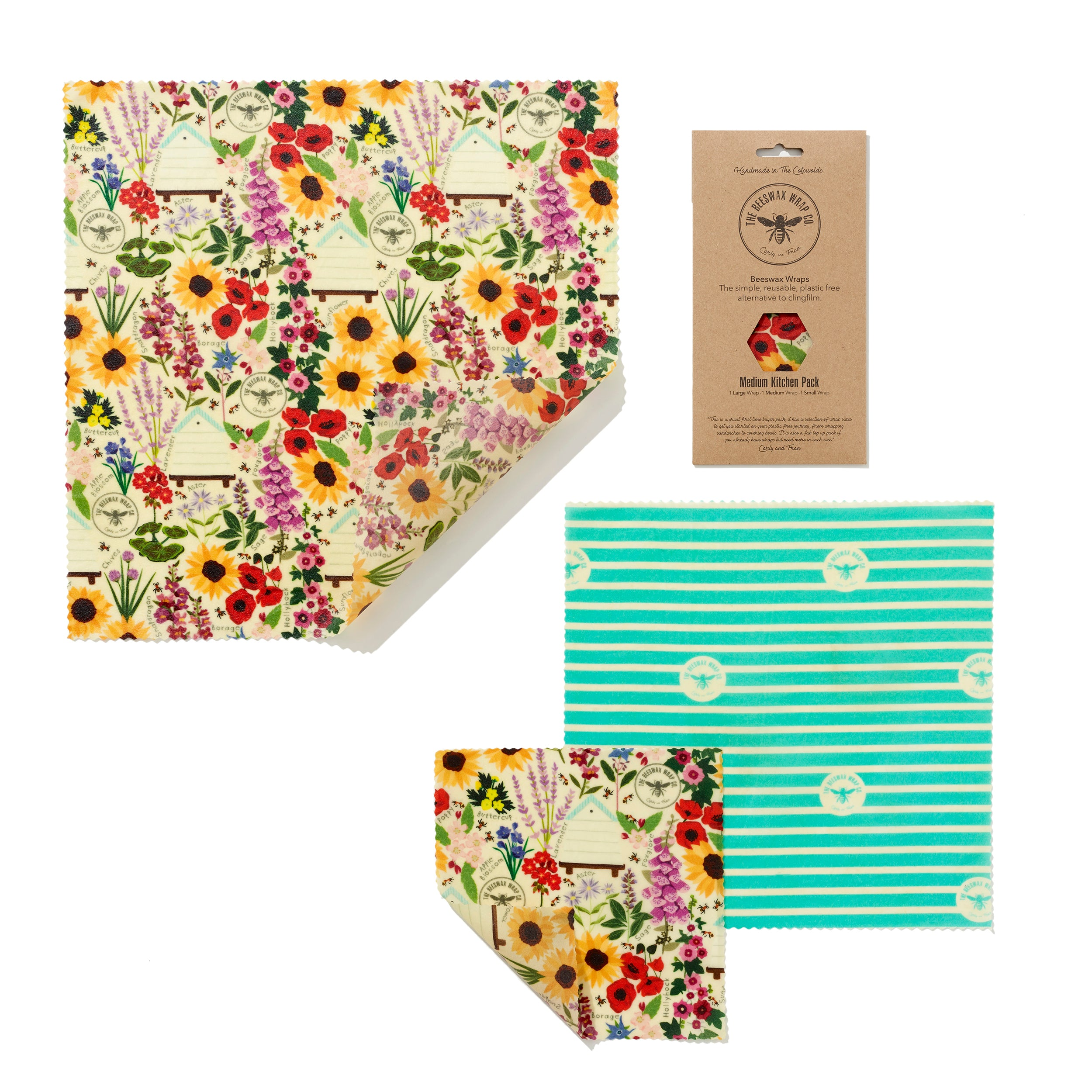 'Medium Kitchen Pack' Beeswax Wraps - Floral - The Weekly Shop | Plastic Free Online Shop