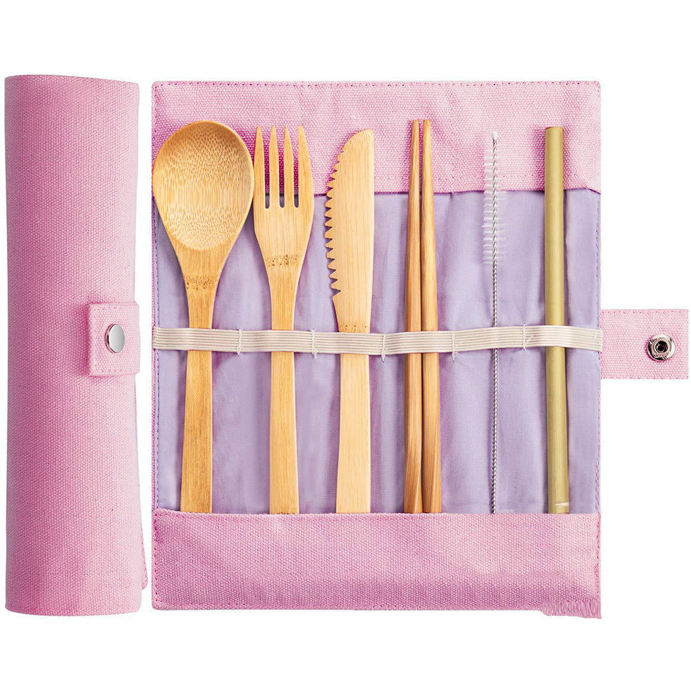 Pink Wooden Cutlery Set - The Weekly Shop | Plastic Free Online Shop