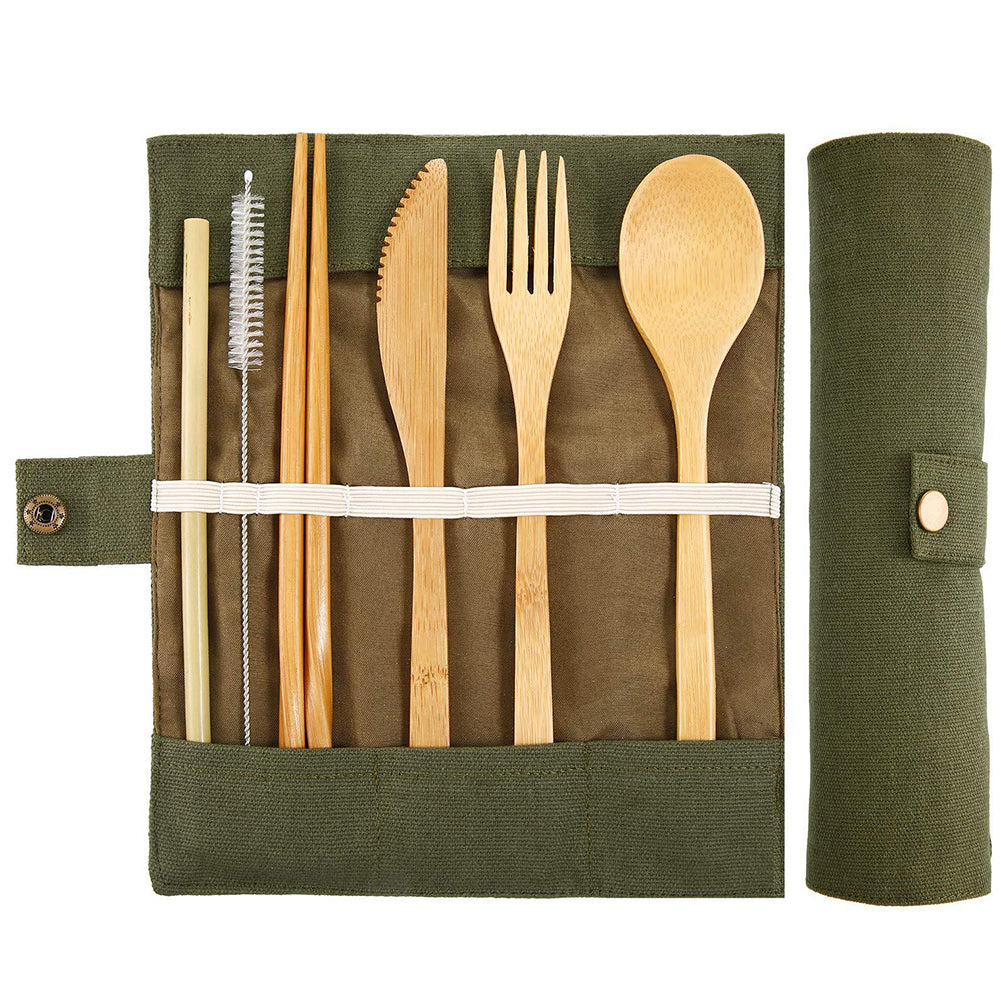 Green Wooden Cutlery Set - The Weekly Shop | Plastic Free Online Shop