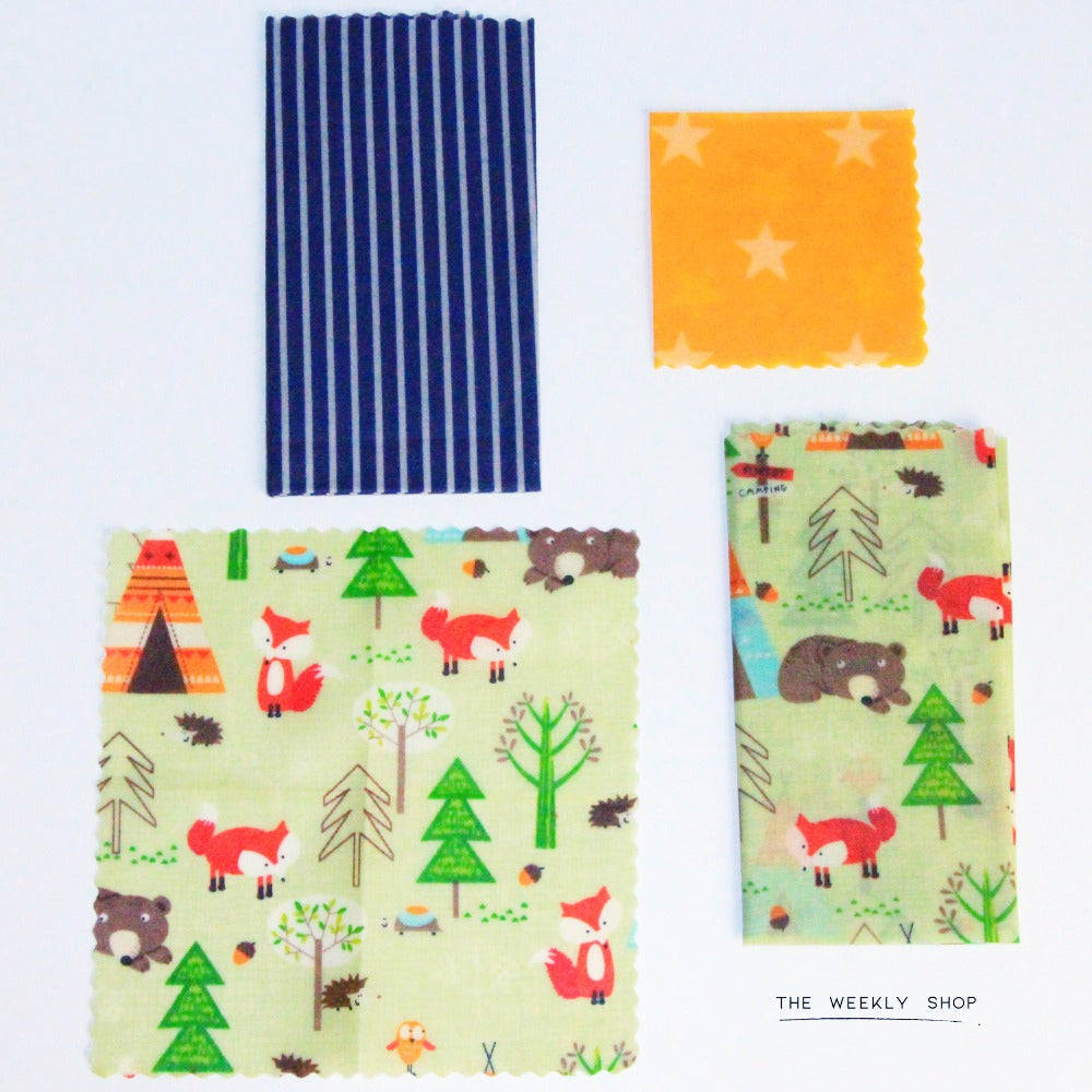 The Beeswax Wrap Co. Lunch Pack for Children unwrapped wraps
