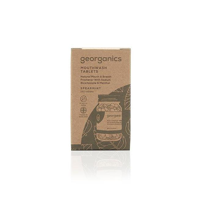 Georganics Spearmint Mouthwash Tablets Recycled Cardboard Packaging