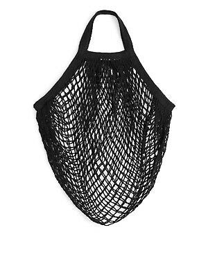Short Handle Organic Cotton String Bag - Black - The Weekly Shop | Plastic Free Online Shop